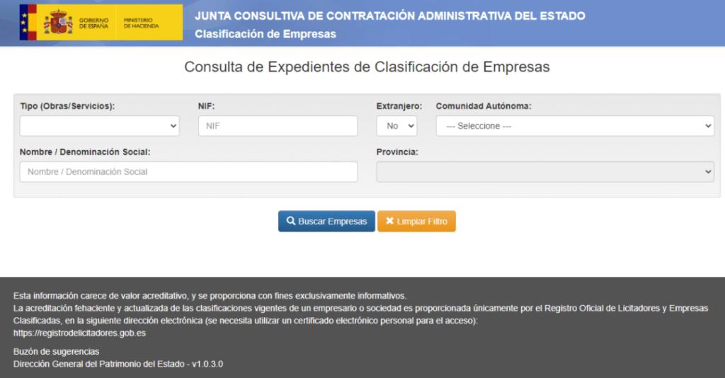 aplicación para consultar expedientes de clasificación de empresas